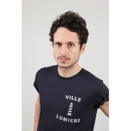 """T-SHIRT """"VILLE LUMIERE"""" - BLEU NUIT"""